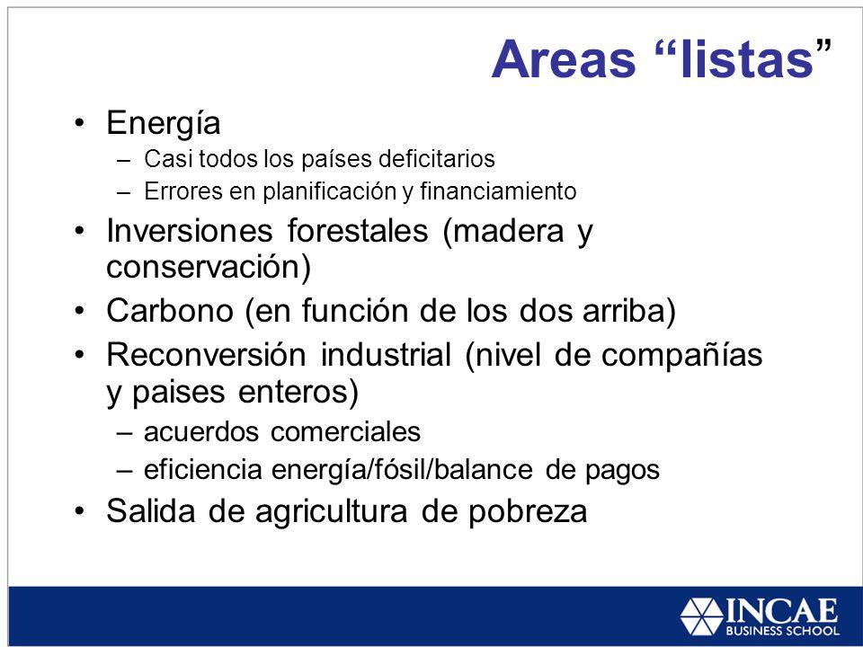 Areas listas Energía –Casi todos los países deficitarios –Errores en planificación y financiamiento Inversiones forestales (madera y conservación) Carbono (en función de los dos arriba) Reconversión industrial (nivel de compañías y paises enteros) –acuerdos comerciales –eficiencia energía/fósil/balance de pagos Salida de agricultura de pobreza