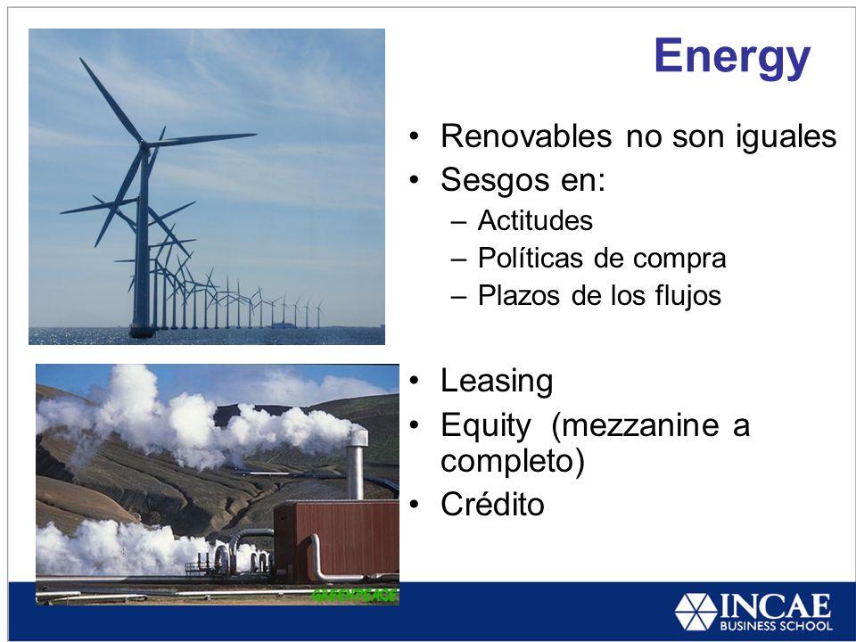 Energy Renovables no son iguales Sesgos en: –Actitudes –Políticas de compra –Plazos de los flujos Leasing Equity (mezzanine a completo) Crédito