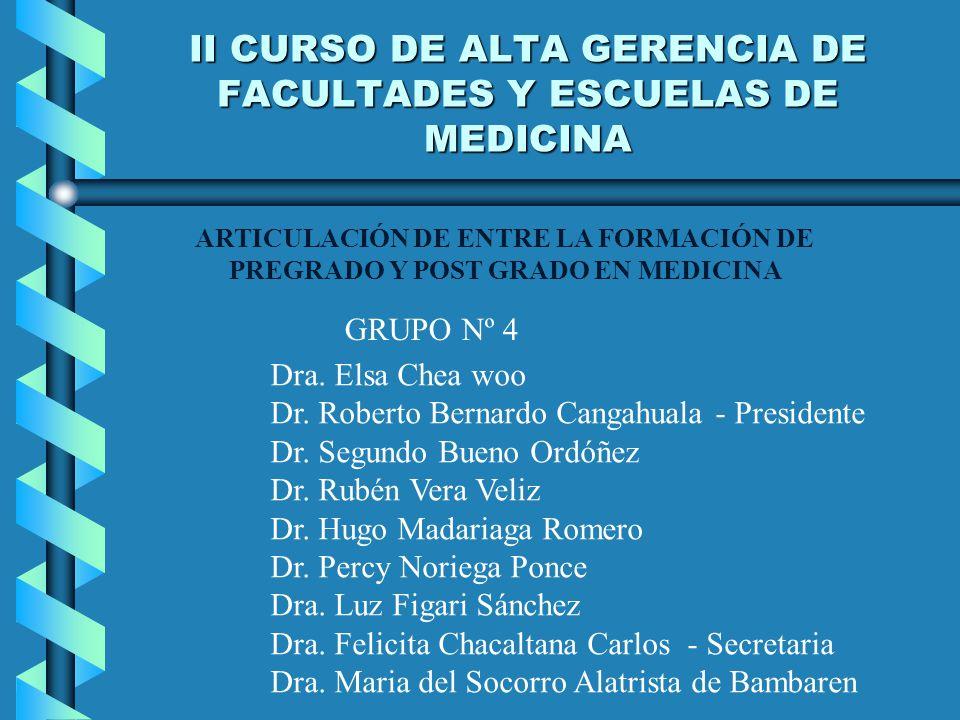 II CURSO DE ALTA GERENCIA DE FACULTADES Y ESCUELAS DE MEDICINA ARTICULACIÓN DE ENTRE LA FORMACIÓN DE PREGRADO Y POST GRADO EN MEDICINA GRUPO Nº 4 Dra.
