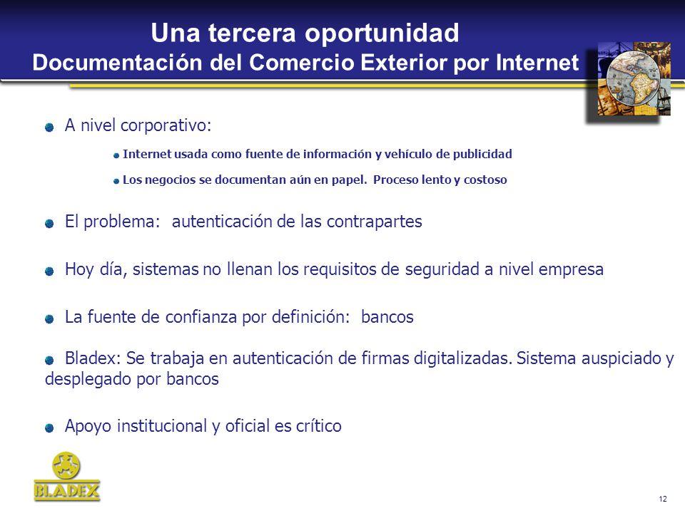 12 Una tercera oportunidad Documentación del Comercio Exterior por Internet A nivel corporativo: Internet usada como fuente de información y vehículo de publicidad Los negocios se documentan aún en papel.