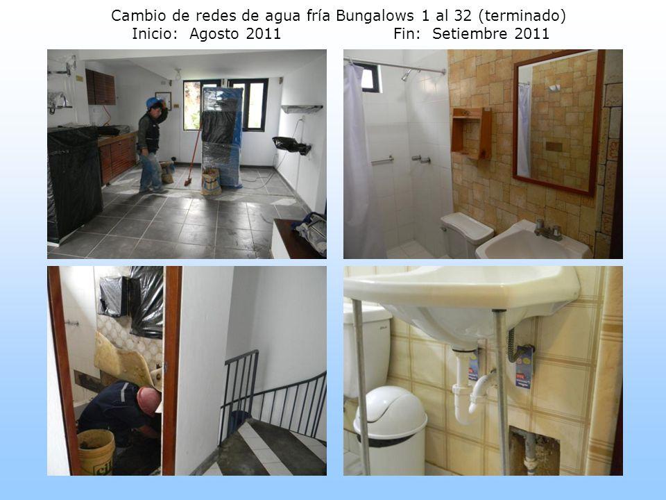 Cambio de redes de agua fría Bungalows 1 al 32 (terminado) Inicio: Agosto 2011Fin: Setiembre 2011