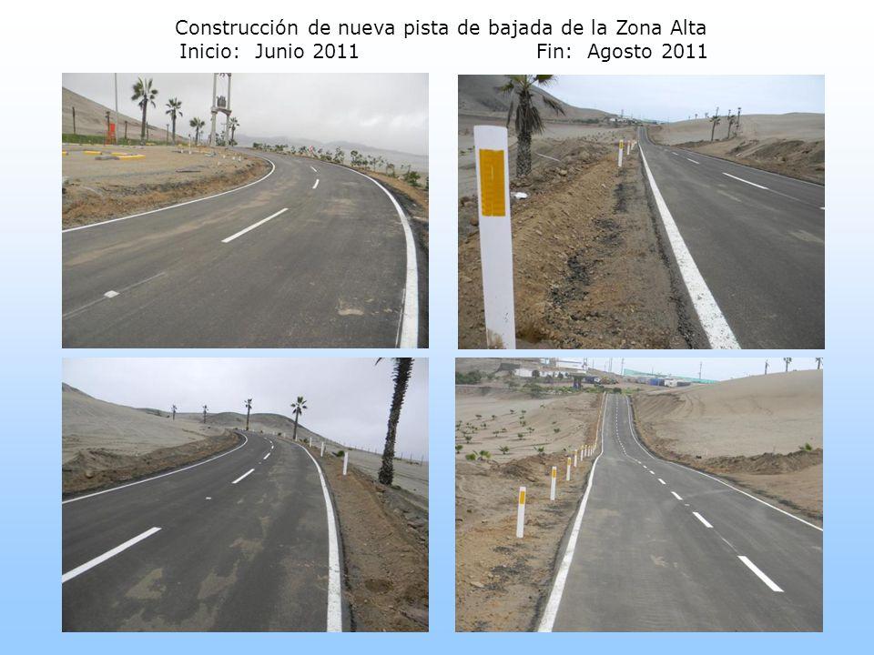Construcción de nueva pista de bajada de la Zona Alta Inicio: Junio 2011 Fin: Agosto 2011