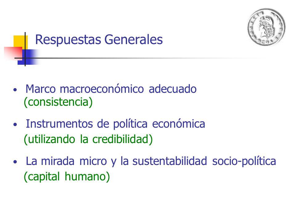 Respuestas Generales Marco macroeconómico adecuado (consistencia) Instrumentos de política económica (utilizando la credibilidad) La mirada micro y la