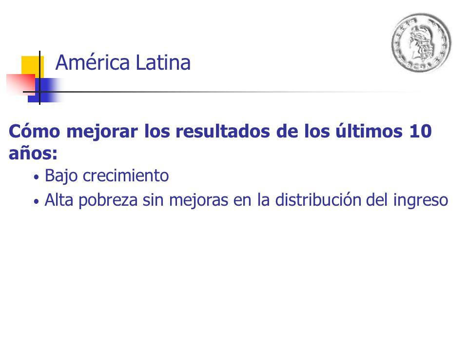 América Latina Cómo mejorar los resultados de los últimos 10 años: Bajo crecimiento Alta pobreza sin mejoras en la distribución del ingreso Conviviendo con: Los desafíos de la globalización Los shocks externos Altas demandas sociales