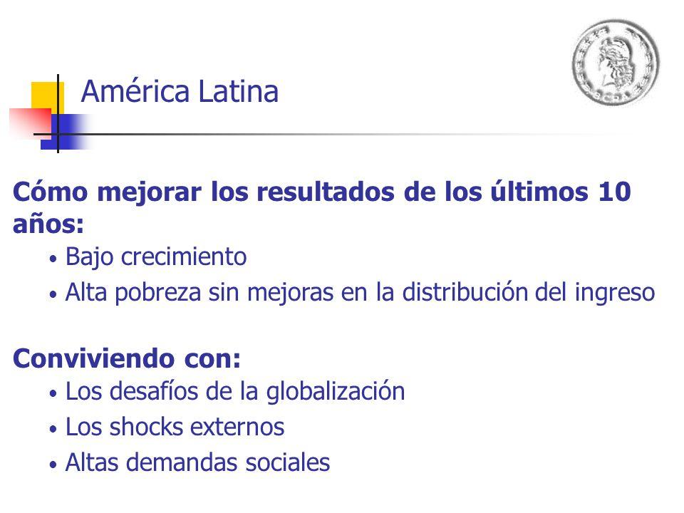 América Latina Cómo mejorar los resultados de los últimos 10 años: Bajo crecimiento Alta pobreza sin mejoras en la distribución del ingreso Conviviend