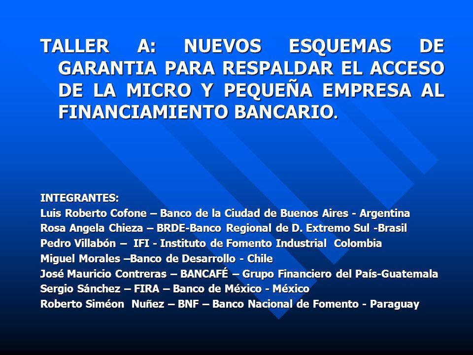 TALLER A: NUEVOS ESQUEMAS DE GARANTIA PARA RESPALDAR EL ACCESO DE LA MICRO Y PEQUEÑA EMPRESA AL FINANCIAMIENTO BANCARIO.