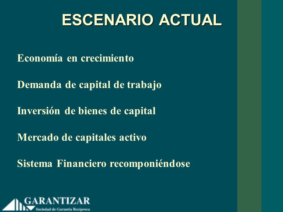 ESCENARIO ACTUAL Economía en crecimiento Demanda de capital de trabajo Inversión de bienes de capital Mercado de capitales activo Sistema Financiero r