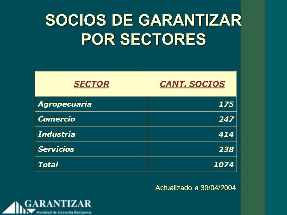 SOCIOS DE GARANTIZAR POR SECTORES SECTORCANT. SOCIOS Agropecuaria175 Comercio247 Industria414 Servicios238 Total1074 Actualizado a 30/04/2004