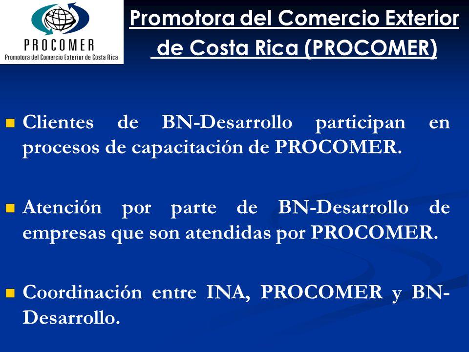 Clientes de BN-Desarrollo participan en procesos de capacitación de PROCOMER. Atención por parte de BN-Desarrollo de empresas que son atendidas por PR