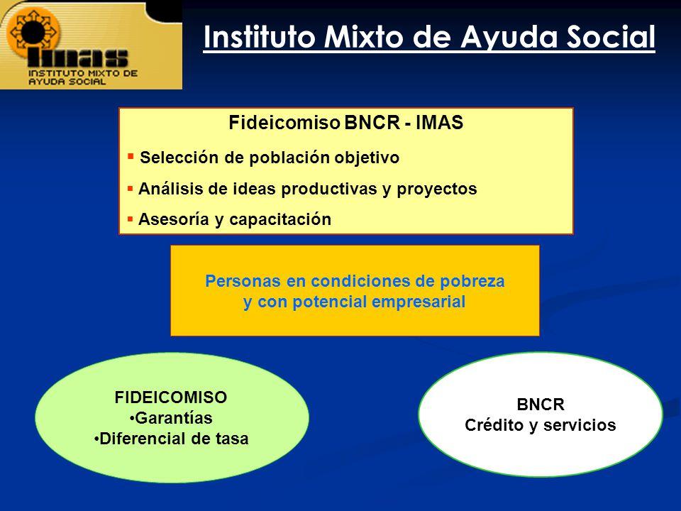 Personas en condiciones de pobreza y con potencial empresarial Fideicomiso BNCR - IMAS Selección de población objetivo Análisis de ideas productivas y