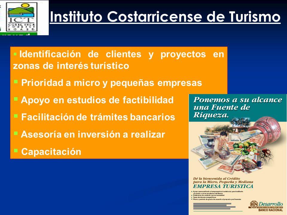 Identificación de clientes y proyectos en zonas de interés turístico Prioridad a micro y pequeñas empresas Apoyo en estudios de factibilidad Facilitac