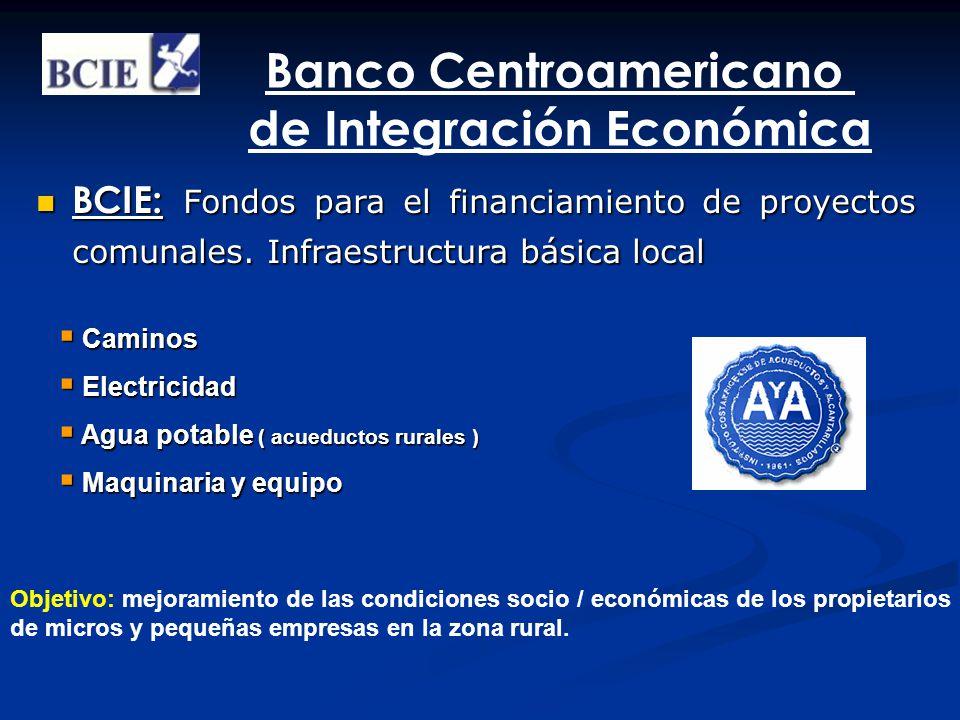 BCIE: Fondos para el financiamiento de proyectos comunales. Infraestructura básica local BCIE: Fondos para el financiamiento de proyectos comunales. I