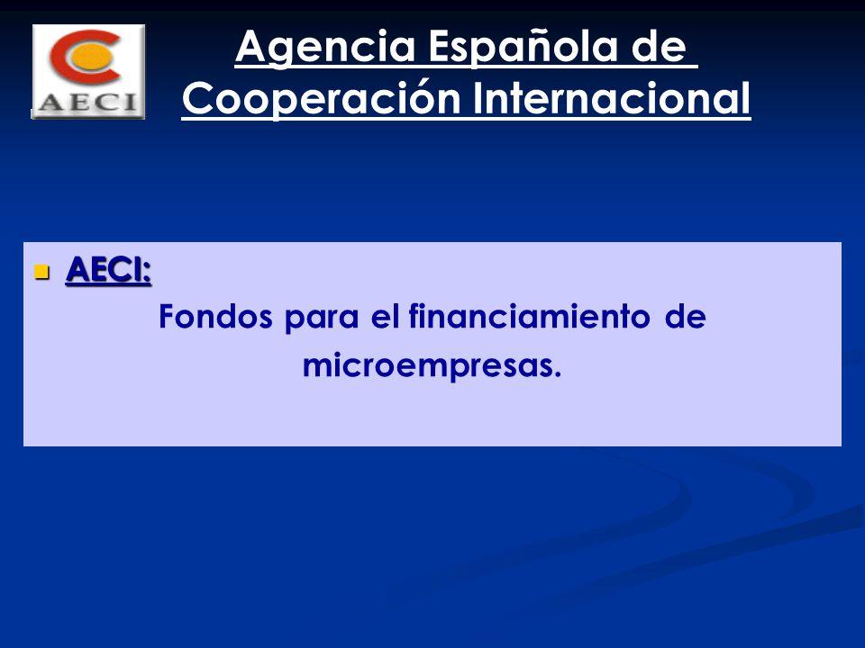 AECI: AECI: Fondos para el financiamiento de microempresas. Agencia Española de Cooperación Internacional