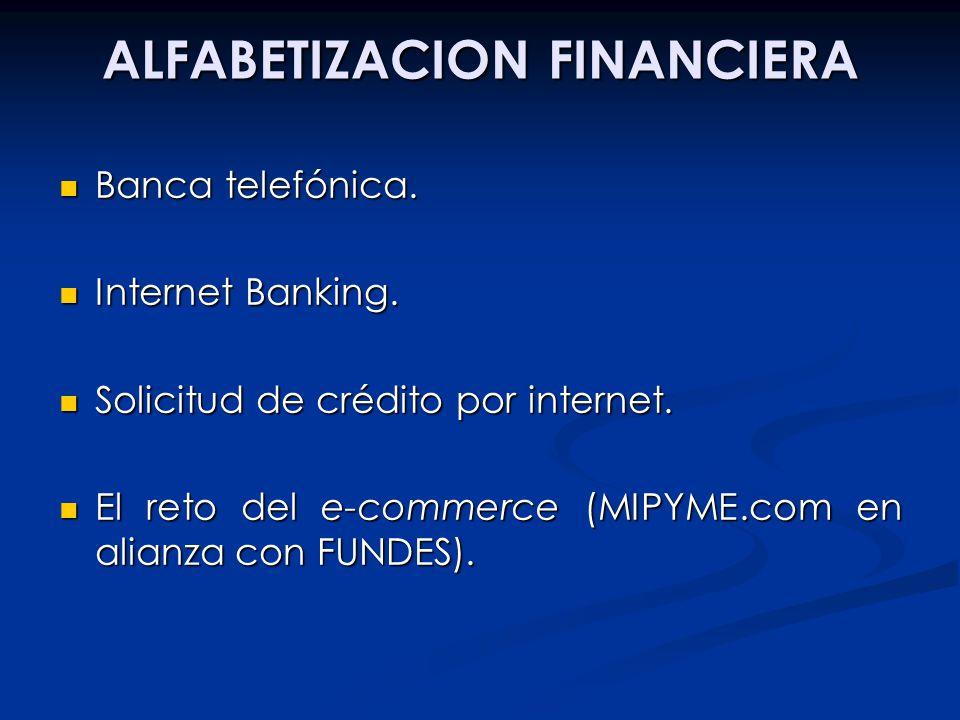 ALFABETIZACION FINANCIERA Banca telefónica. Banca telefónica. Internet Banking. Internet Banking. Solicitud de crédito por internet. Solicitud de créd