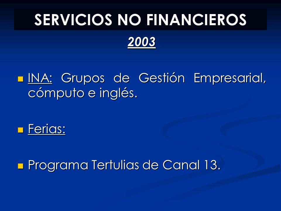 SERVICIOS NO FINANCIEROS 2003 INA: Grupos de Gestión Empresarial, cómputo e inglés. INA: Grupos de Gestión Empresarial, cómputo e inglés. Ferias: Feri