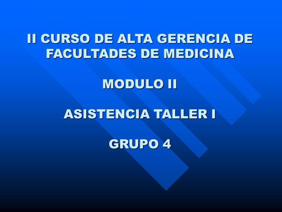 II CURSO DE ALTA GERENCIA DE FACULTADES DE MEDICINA MODULO II ASISTENCIA TALLER I GRUPO 4