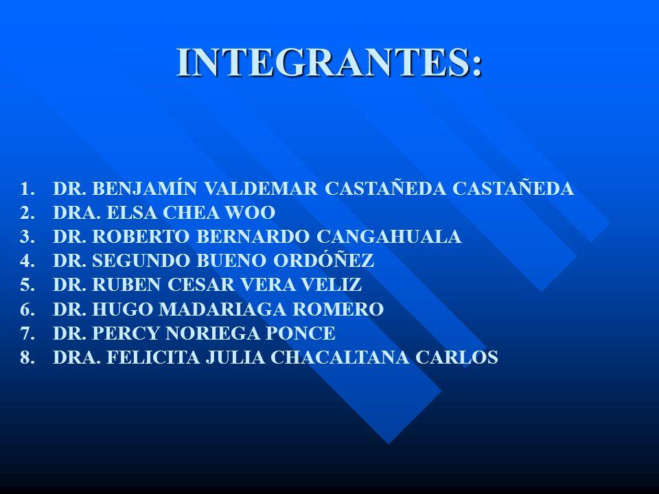 INTEGRANTES: 1.DR. BENJAMÍN VALDEMAR CASTAÑEDA CASTAÑEDA 2.DRA.