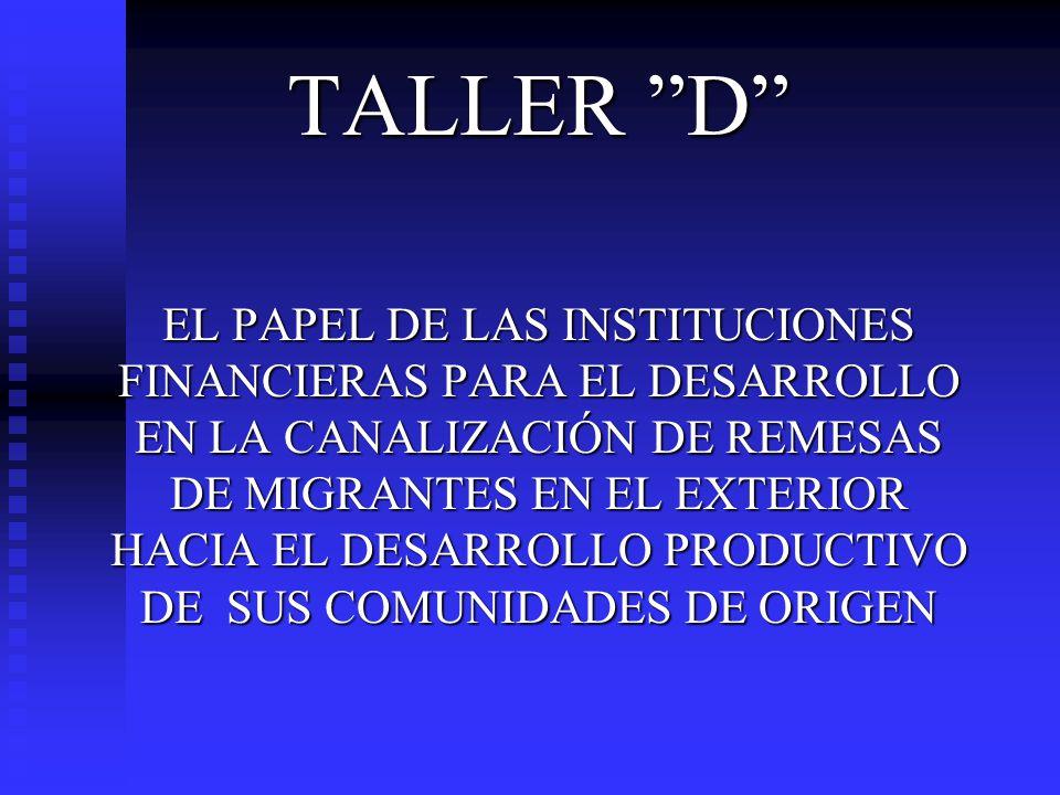 TALLER D EL PAPEL DE LAS INSTITUCIONES FINANCIERAS PARA EL DESARROLLO EN LA CANALIZACIÓN DE REMESAS DE MIGRANTES EN EL EXTERIOR HACIA EL DESARROLLO PR