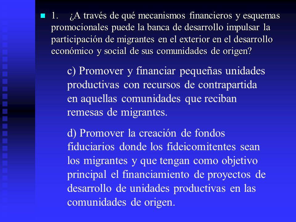 1.¿A través de qué mecanismos financieros y esquemas promocionales puede la banca de desarrollo impulsar la participación de migrantes en el exterior en el desarrollo económico y social de sus comunidades de origen.