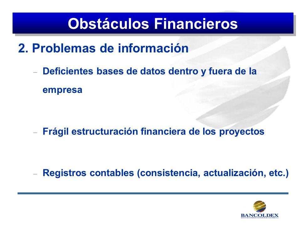 2. Problemas de información – Deficientes bases de datos dentro y fuera de la empresa – Frágil estructuración financiera de los proyectos – Registros