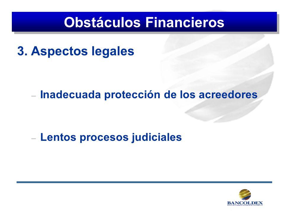 3. Aspectos legales – Inadecuada protección de los acreedores – Lentos procesos judiciales Obstáculos Financieros