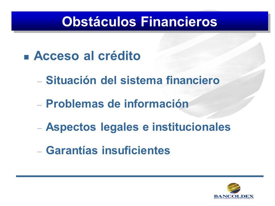 n Acceso al crédito – Situación del sistema financiero – Problemas de información – Aspectos legales e institucionales – Garantías insuficientes Obstá