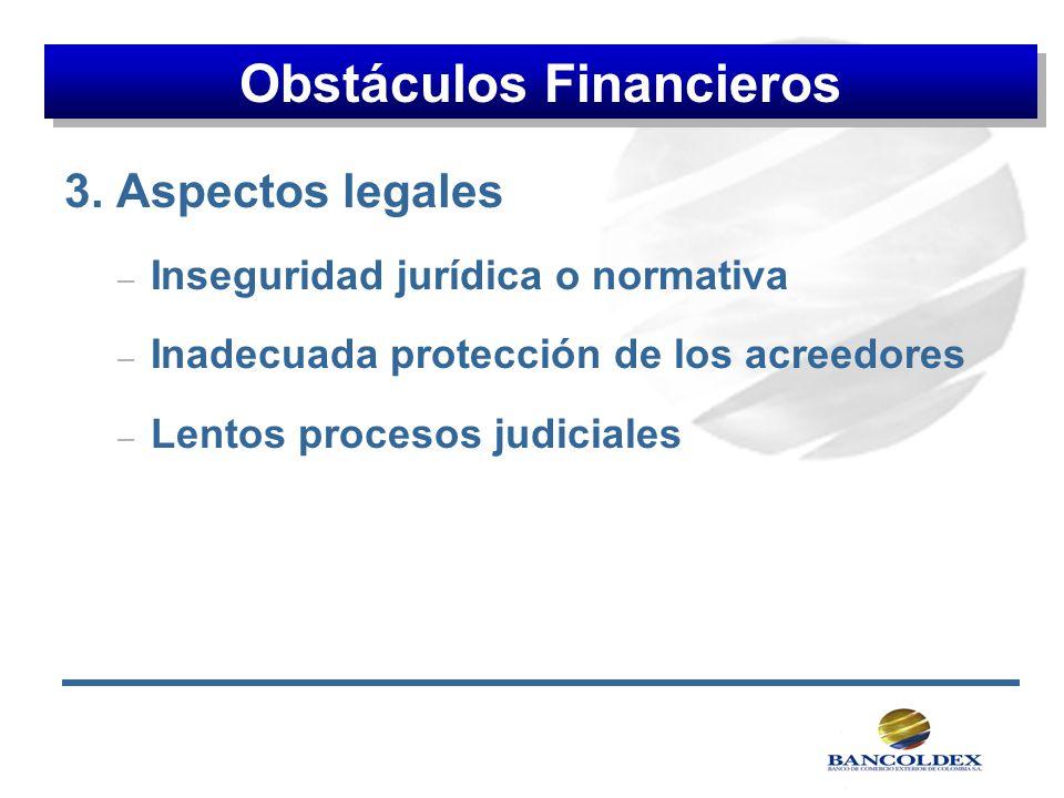 3. Aspectos legales – Inseguridad jurídica o normativa – Inadecuada protección de los acreedores – Lentos procesos judiciales Obstáculos Financieros