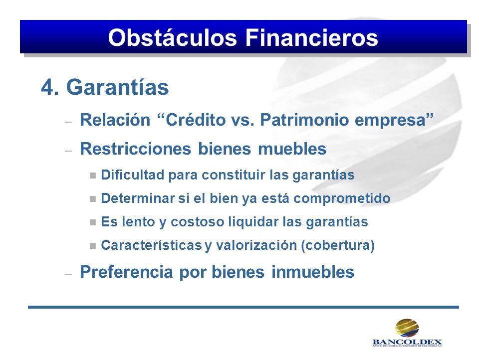 4. Garantías – Relación Crédito vs. Patrimonio empresa – Restricciones bienes muebles n Dificultad para constituir las garantías n Determinar si el bi
