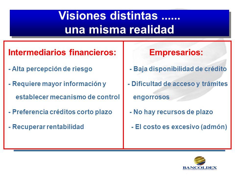 Visiones distintas...... una misma realidad Visiones distintas...... una misma realidad Intermediarios financieros:Empresarios: - Alta percepción de r