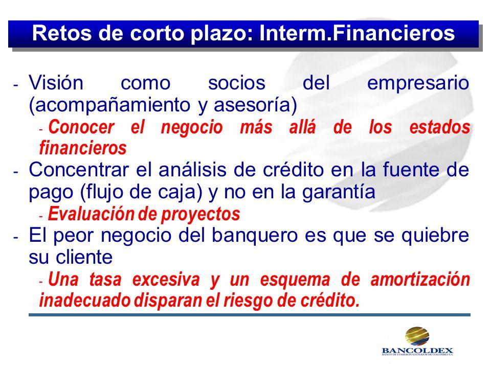 - Visión como socios del empresario (acompañamiento y asesoría) - Conocer el negocio más allá de los estados financieros - Concentrar el análisis de c