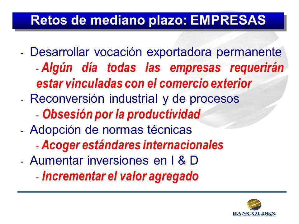 - Desarrollar vocación exportadora permanente - Algún día todas las empresas requerirán estar vinculadas con el comercio exterior - Reconversión indus