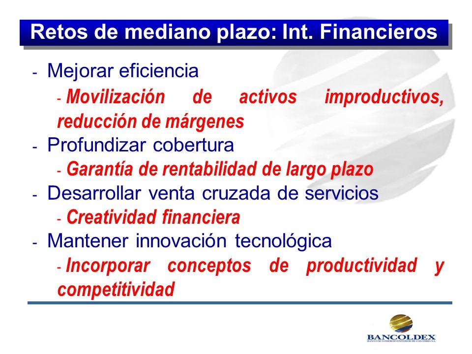 - Mejorar eficiencia - Movilización de activos improductivos, reducción de márgenes - Profundizar cobertura - Garantía de rentabilidad de largo plazo