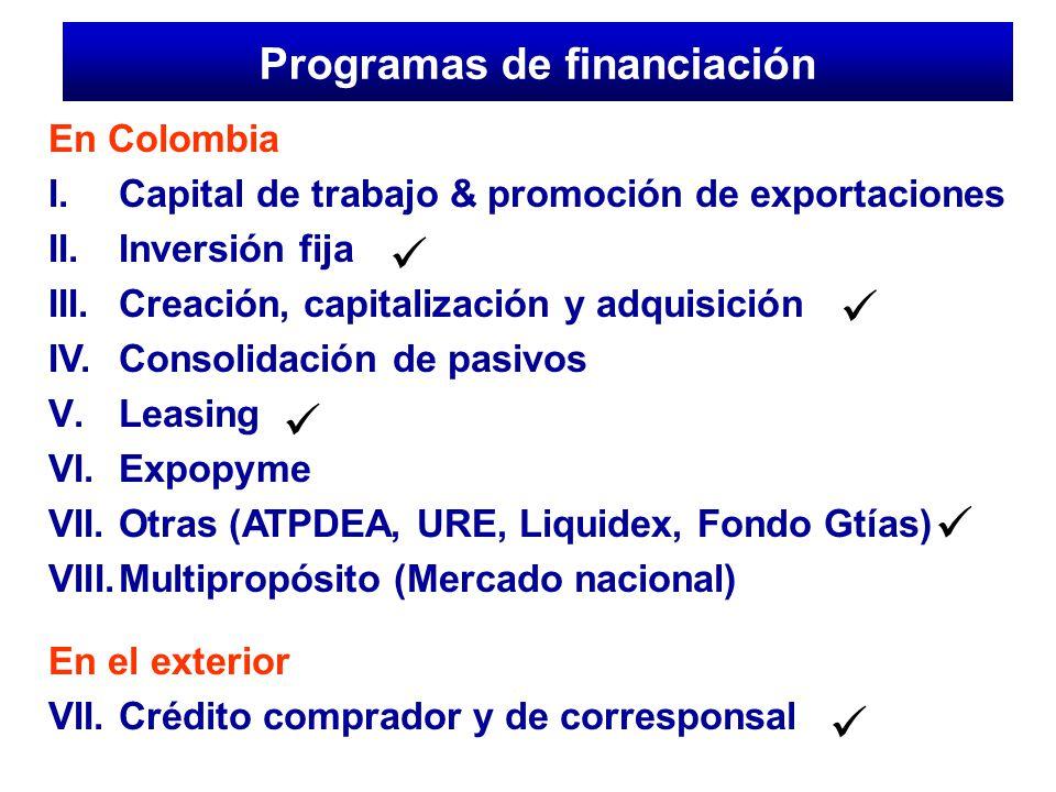 En Colombia I.Capital de trabajo & promoción de exportaciones II. Inversión fija III. Creación, capitalización y adquisición IV. Consolidación de pasi