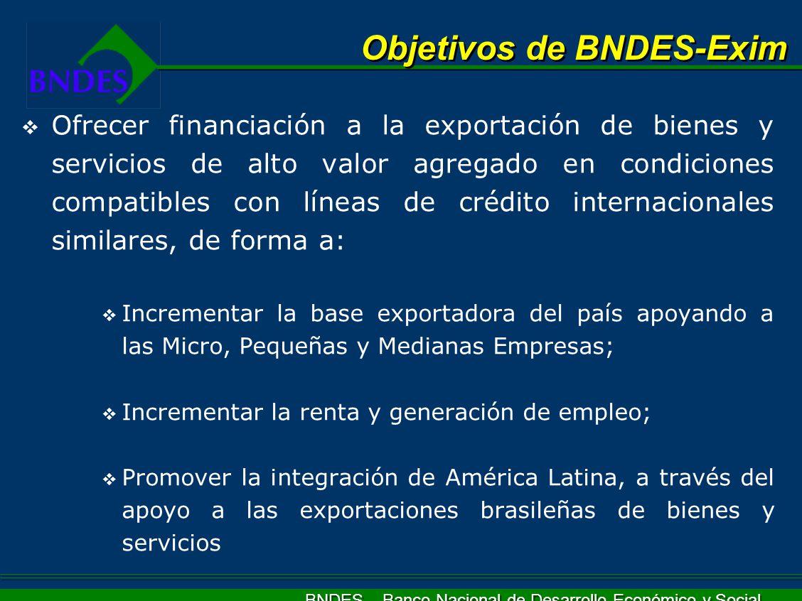 BNDES – Banco Nacional de Desarrollo Económico y Social Ofrecer financiación a la exportación de bienes y servicios de alto valor agregado en condicio