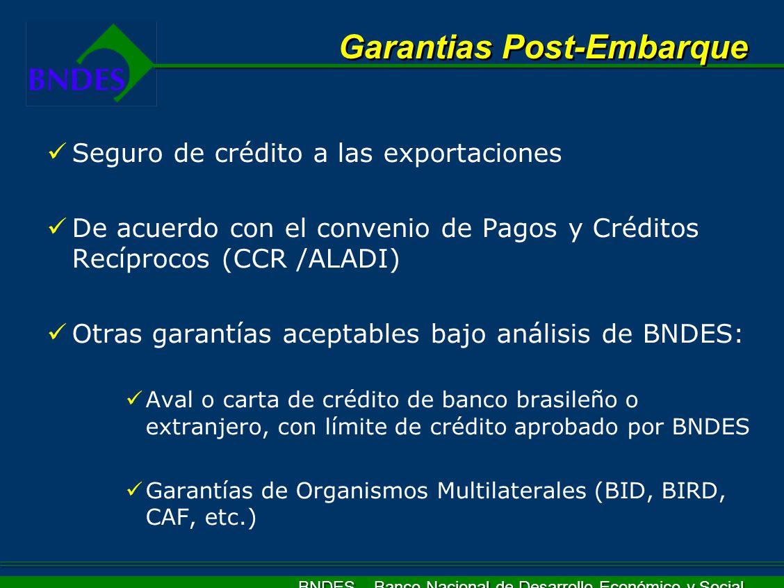 BNDES – Banco Nacional de Desarrollo Económico y Social Seguro de crédito a las exportaciones De acuerdo con el convenio de Pagos y Créditos Recíproco