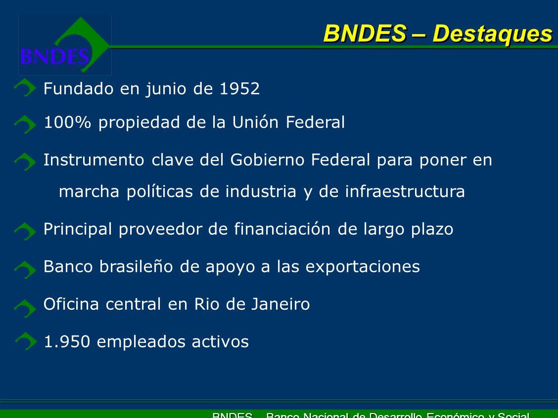 BNDES – Banco Nacional de Desarrollo Económico y Social BNDES – Destaques Fundado en junio de 1952 100% propiedad de la Unión Federal Instrumento clav