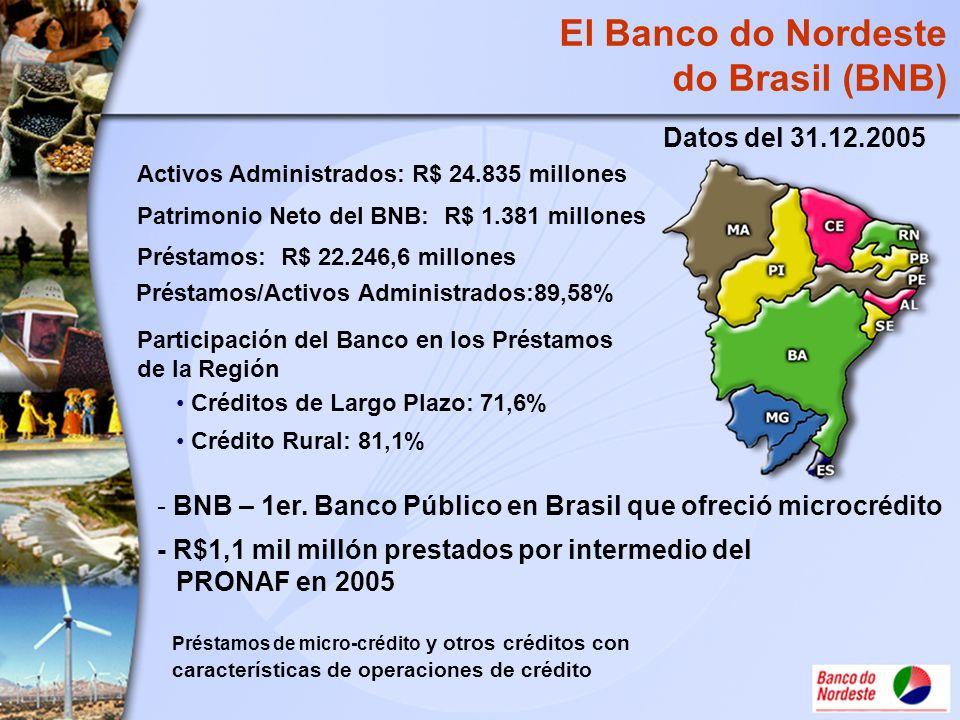 Activos Administrados: R$ 24.835 millones Patrimonio Neto del BNB: R$ 1.381 millones Préstamos: R$ 22.246,6 millones Préstamos/Activos Administrados:8