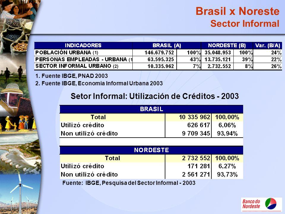 1. Fuente IBGE, PNAD 2003 2. Fuente IBGE, Economia Informal Urbana 2003 Setor Informal: Utilización de Créditos - 2003 Fuente: IBGE, Pesquisa del Sect