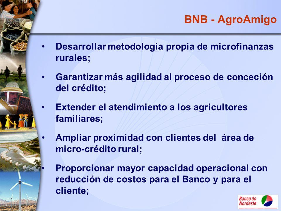 BNB - AgroAmigo Desarrollar metodologia propia de microfinanzas rurales; Garantizar más agilidad al proceso de conceción del crédito; Extender el aten