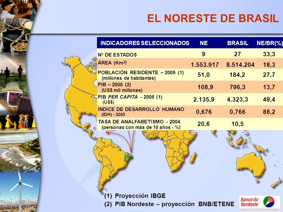 EL NORESTE DE BRASIL INDICADORES SELECCIONADOSNEBRASILNE/BR(%) Nº DE ESTADOS 92733,3 ÁREA (Km 2 ) 1.553.9178.514.20418,3 POBLACIÓN RESIDENTE – 2005 (1
