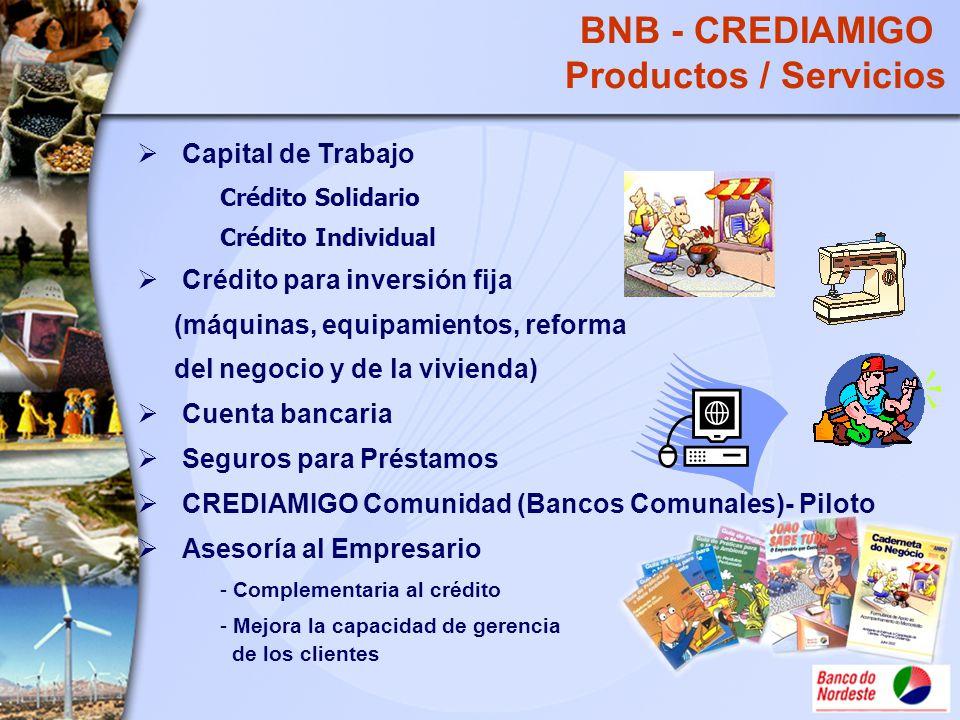 BNB - CREDIAMIGO Productos / Servicios Capital de Trabajo Crédito Solidario Crédito Individual Crédito para inversión fija (máquinas, equipamientos, r