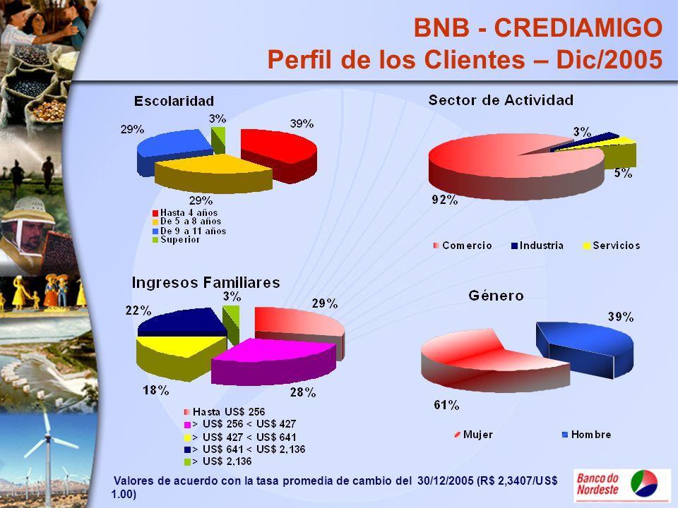 BNB - CREDIAMIGO Perfil de los Clientes – Dic/2005 Valores de acuerdo con la tasa promedia de cambio del 30/12/2005 (R$ 2,3407/US$ 1.00)