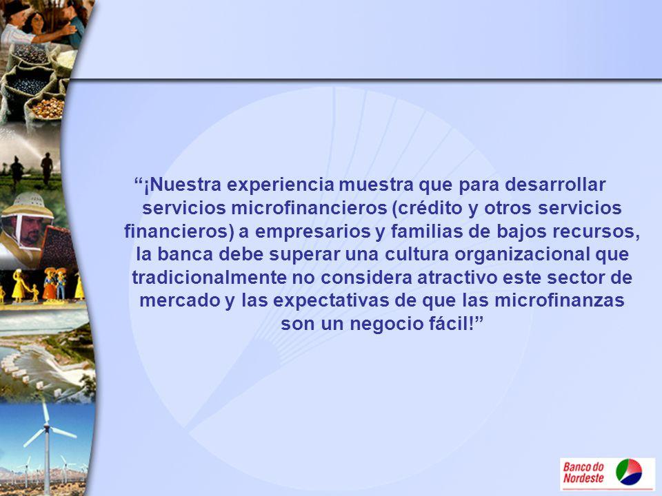 ¡Nuestra experiencia muestra que para desarrollar servicios microfinancieros (crédito y otros servicios financieros) a empresarios y familias de bajos