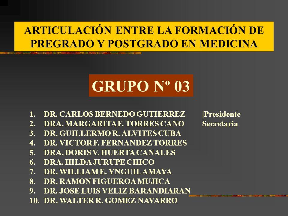 GRUPO Nº 03 1.DR. CARLOS BERNEDO GUTIERREZ|Presidente 2.DRA. MARGARITA F. TORRES CANOSecretaria 3.DR. GUILLERMO R. ALVITES CUBA 4.DR. VICTOR F. FERNAN