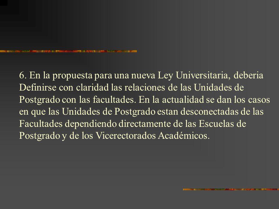 6. En la propuesta para una nueva Ley Universitaria, deberia Definirse con claridad las relaciones de las Unidades de Postgrado con las facultades. En