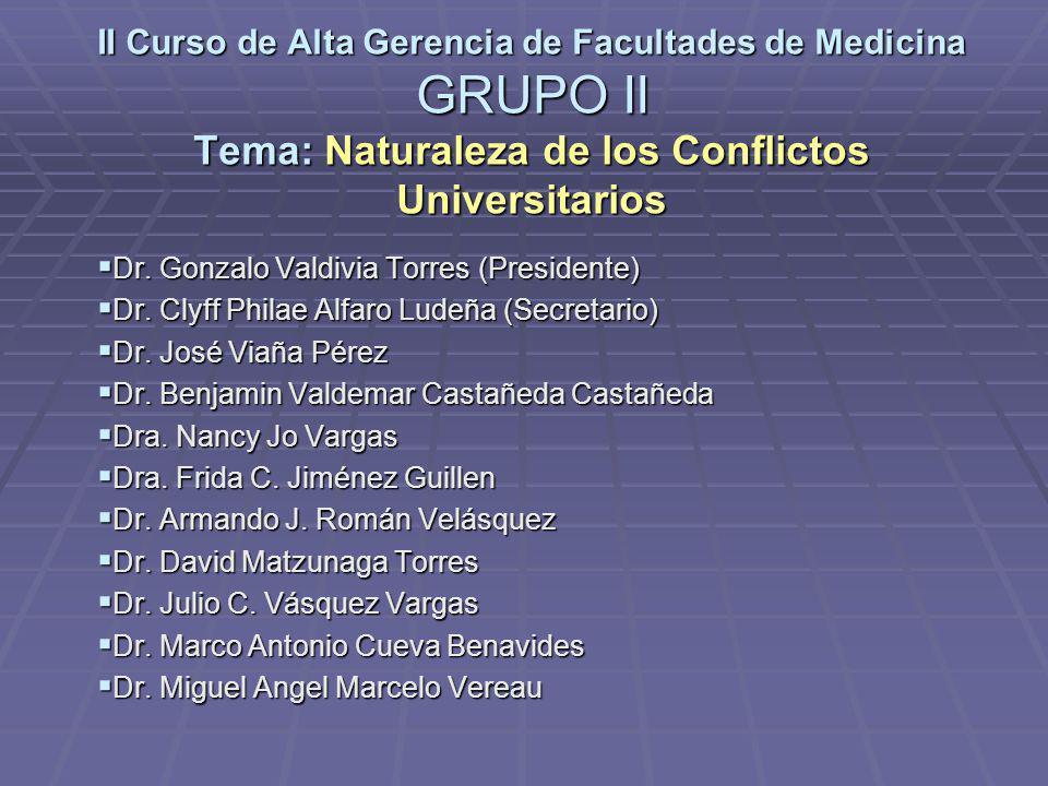 II Curso de Alta Gerencia de Facultades de Medicina GRUPO II Tema: Naturaleza de los Conflictos Universitarios Dr. Gonzalo Valdivia Torres (Presidente