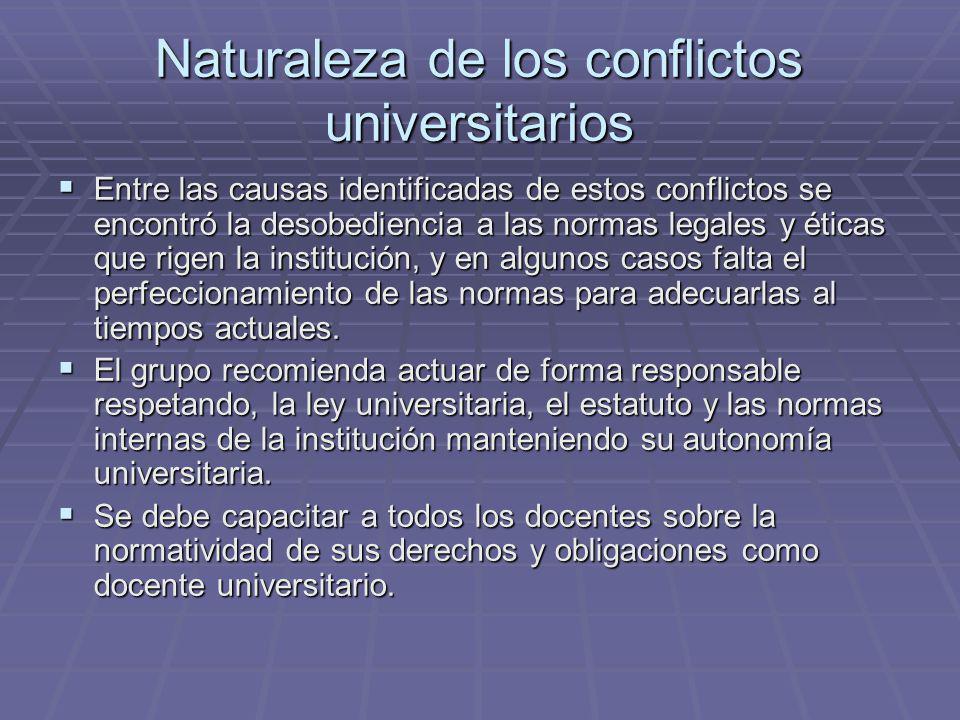Naturaleza de los conflictos universitarios Entre las causas identificadas de estos conflictos se encontró la desobediencia a las normas legales y éti