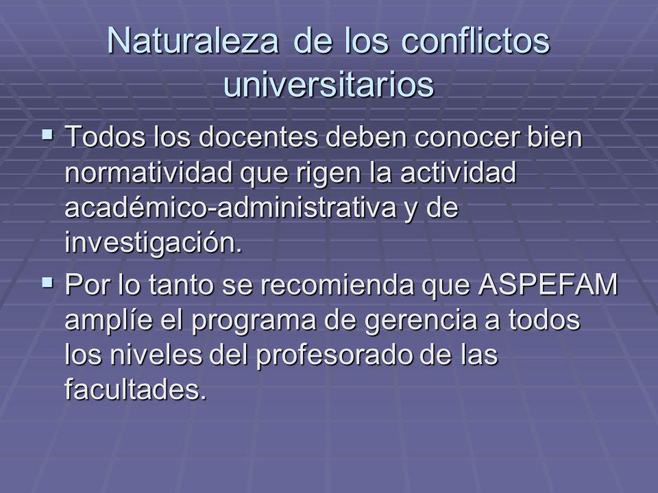 Naturaleza de los conflictos universitarios Todos los docentes deben conocer bien normatividad que rigen la actividad académico-administrativa y de investigación.