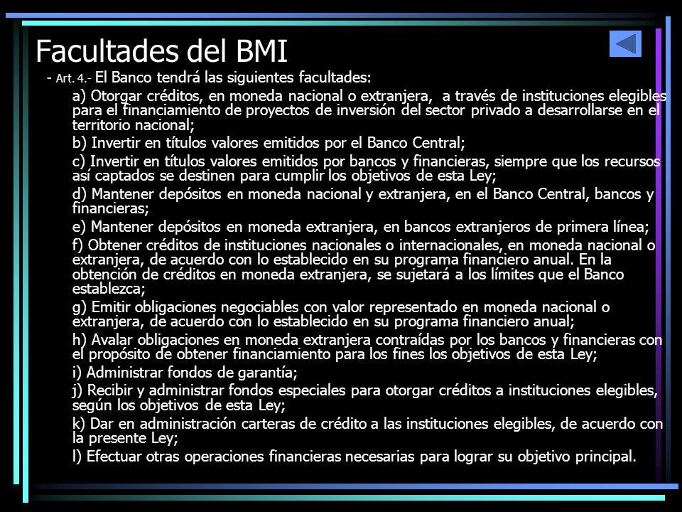 Facultades del BMI - Art. 4.- El Banco tendrá las siguientes facultades: a) Otorgar créditos, en moneda nacional o extranjera, a través de institucion