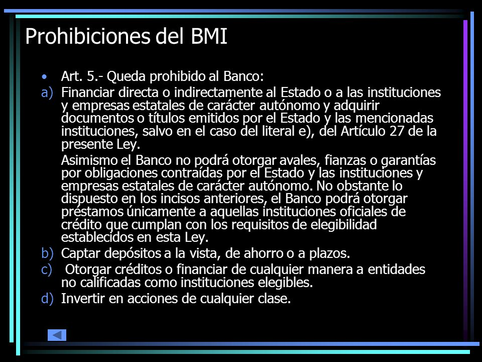 Prohibiciones del BMI Art.